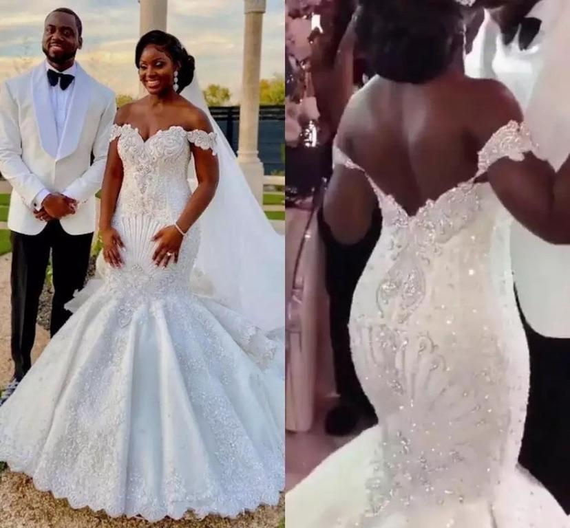 Get African Mermaid Wedding Dresses Off Shoulder Backless Bridal Gown Major Beading Crystals Appliques Pleats Beautiful Women wear