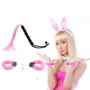 2Pcs/set PU Leather BDSM Bondage Whip Erotic Handcuffs Ankle Cuff Restraints Slave Sex Toys for Couple Adult Game Flogger