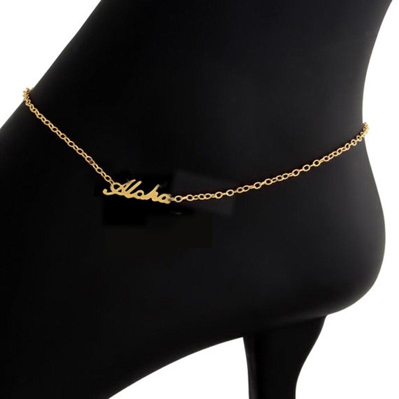 ICFTZWE Aloha анклет с буквами золотые пляжные украшения из нержавеющей стали женские браслеты для щиколотки Аксессуары для ног Bijoux Femme Boho ножная цепочка BFF
