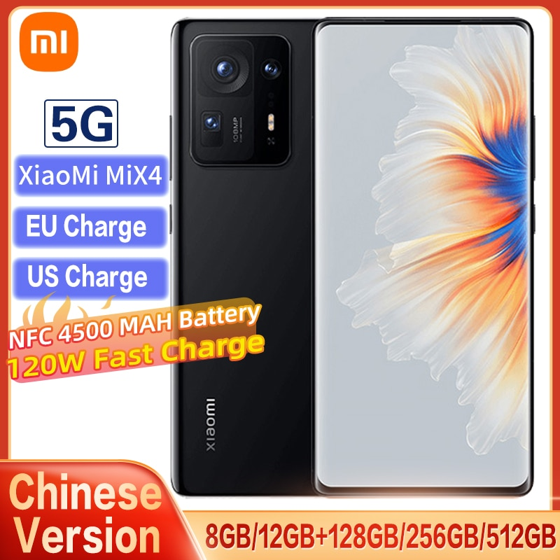 Original Xiaomi Mix 4  Smartphone 5G Version Snapdragon 888 Plus CPU 108MP Camera 120W Fast Charge 120HZ Full Screen With NFC