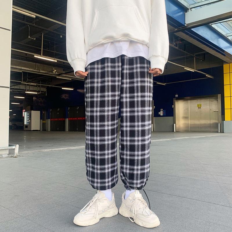 Модные свободные плюшевая в клетку повседневные брюки-карго для мужчин в Корейском стиле; Красивые мужские брюки больших размеров Универса...