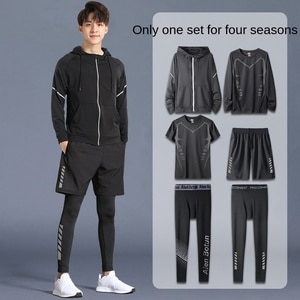 Fitness Suit Men's Sports Running Clothes Spring and Autumn Quick-Drying Slim Fit Clothes Basketball Morning Running Spring