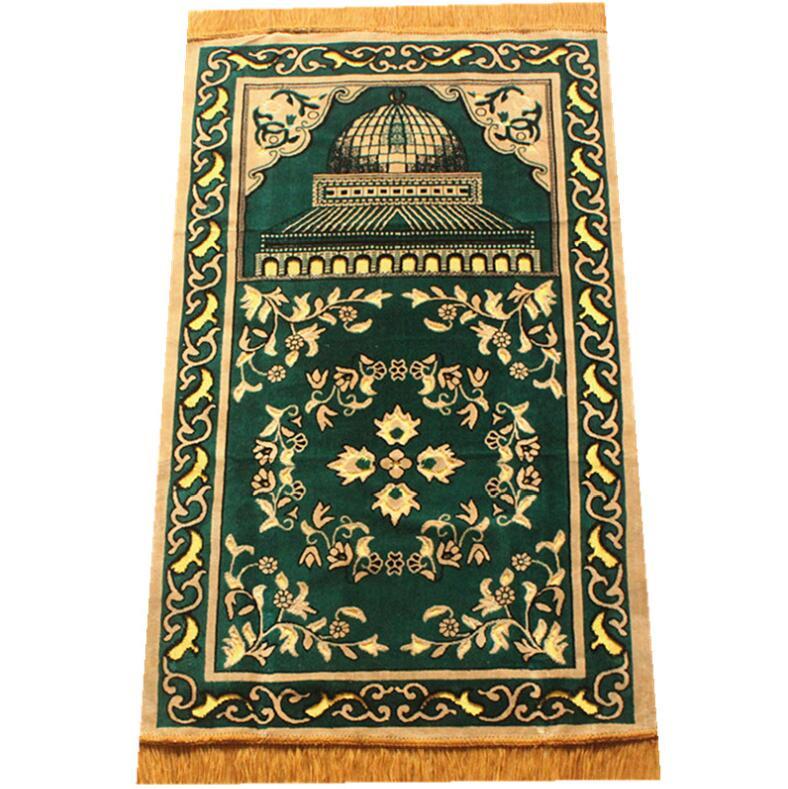Alfombra para decoración de Ramadán y Eid, manta de adoración religiosa islámica, manta roja/azul/verde, 70x110cm, tamaño de bolsillo musulmán, oración