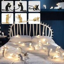 Résine lampe petite Mini souris Table lumière moderne résine créative Animal bureau Accent lampe chevet cadeau décoration dessin animé éclairage