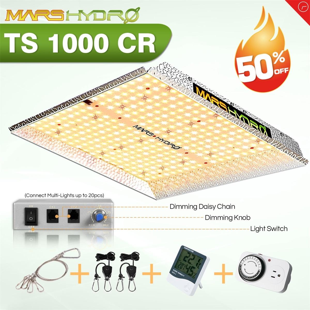 MarsHydro TS 1000W Затемняемый светодиодный светильник для выращивания Полный спектр Гидропонная система для комнатных растений с растущей палатк...