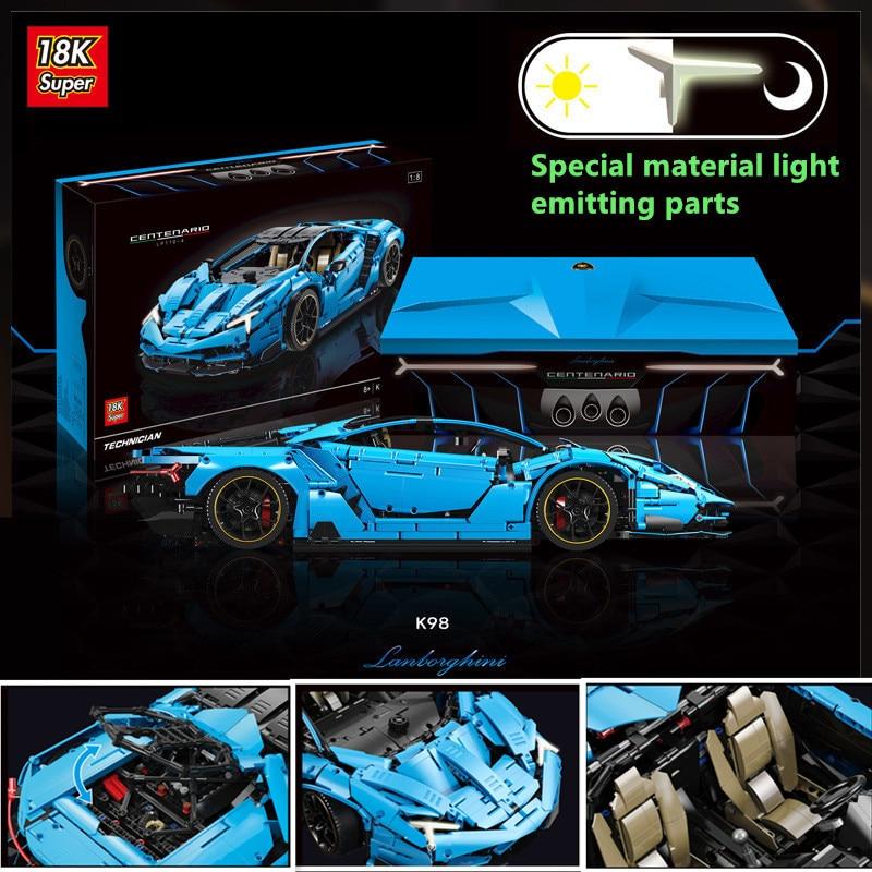 En STOCK super 18k Technic Racing car Lamborghinis MOC-39933 100 año Centenario 18 hypercar 42115 bloques de construcción juguetes para niños
