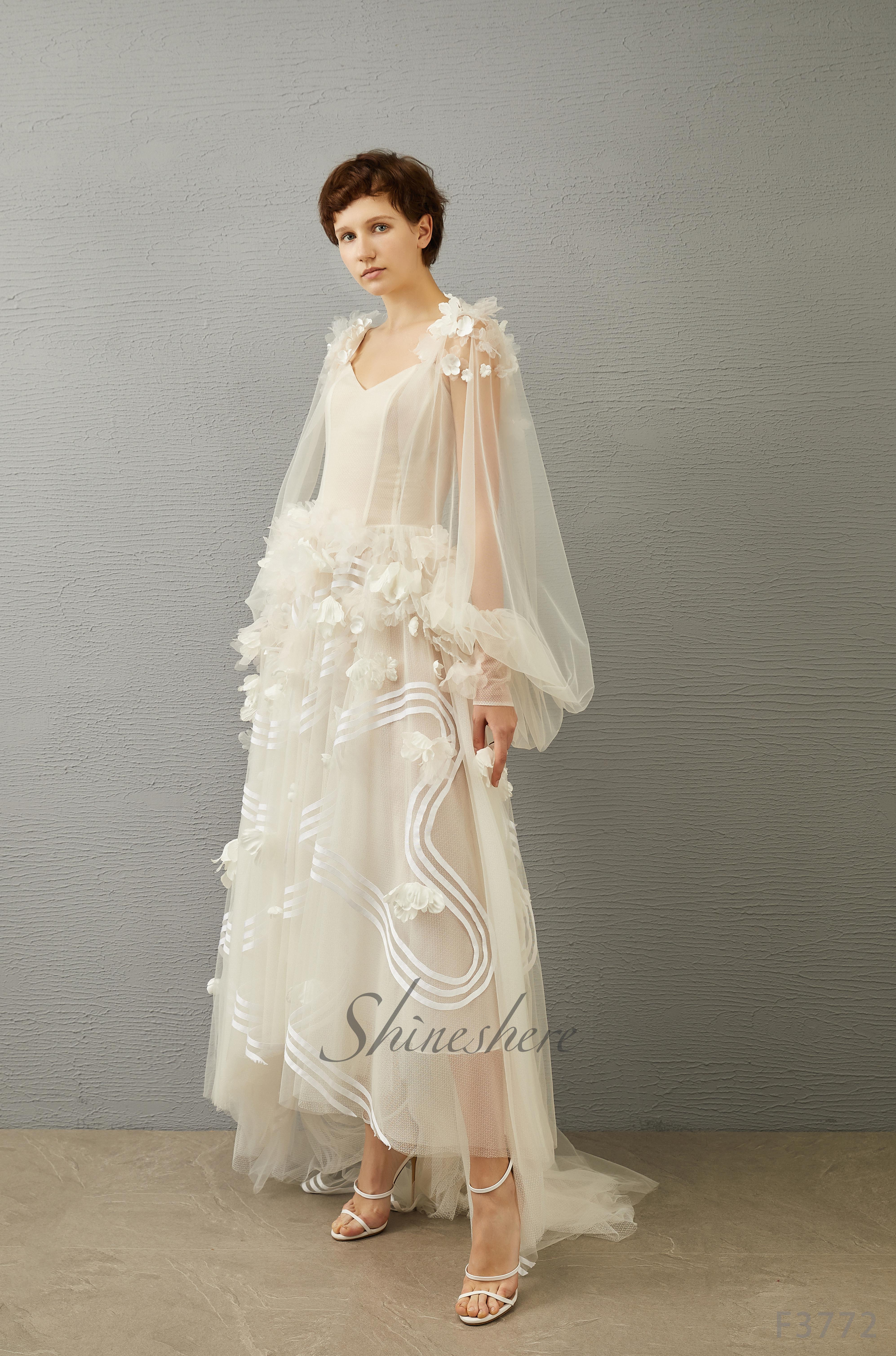 Jusere فستان الزفاف أنيقة منتفخ الأكمام فستان الزفاف مع قطار ألف خط الأزهار بسيطة الخامس الرقبة فستان زفاف