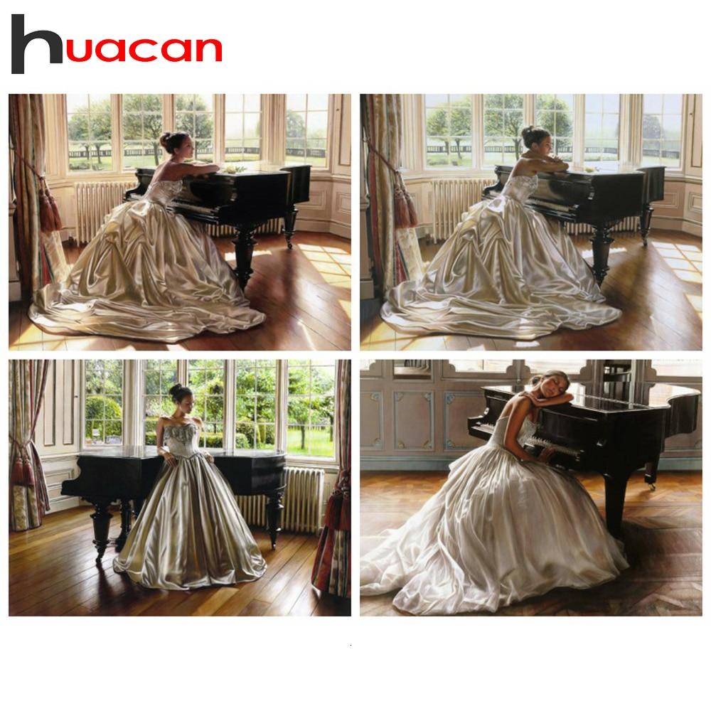 Huacan pintura de diamantes nueva llegadas 5d belleza decoración para el hogar mosaico chica bordado Pantalla Completa Piano regalo hecho a mano