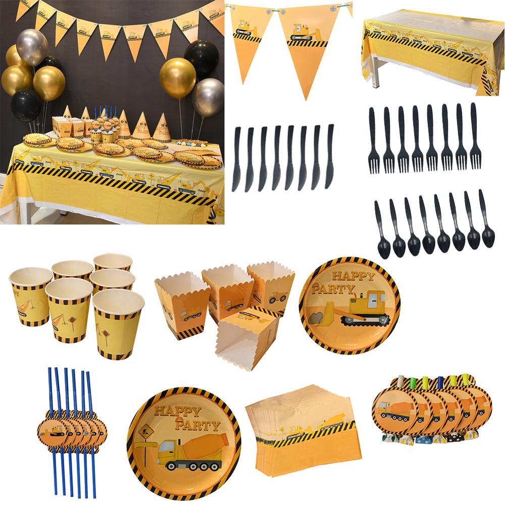 Vehículo de construcción, decoración de servicio de mesa desechable, papel de una sola vez, cajas de palomitas, platos, servilletas, suministros de fiesta de cumpleaños para niños
