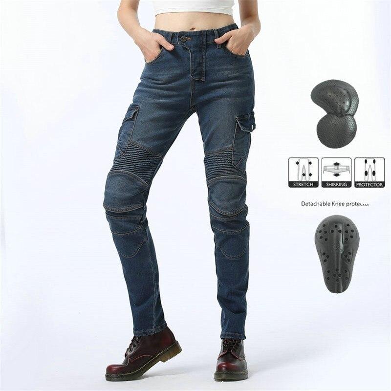 Komine mismo estilo primavera y otoño mujer motociclista Anti-caída Jeans con equipo de protección mujeres Caballero pantalones estilo motero equipo
