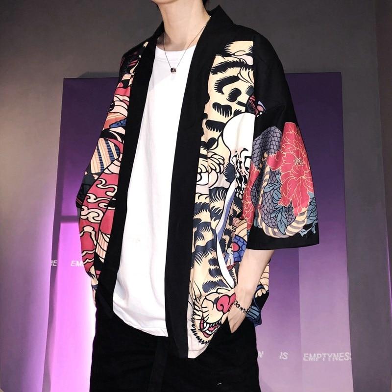 Kimono para hombres, Kimono japonés, kimono tradicional para hombres, cárdigan harajuku streetwear, disfraz de samurai yukata masculino haori obi AZ001