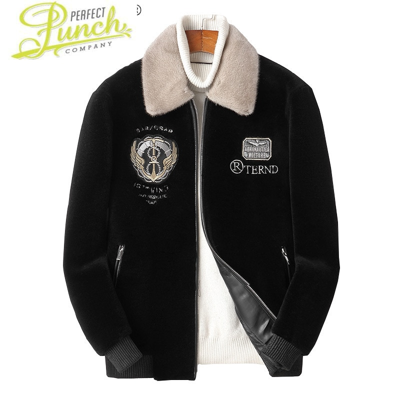 100% معطف الشتاء الحقيقي الأغنام القص الرجال 2021 فرو منك طوق جاكيتات للرجال الصوف الأسود سترات Casaco Masculino Gxy272