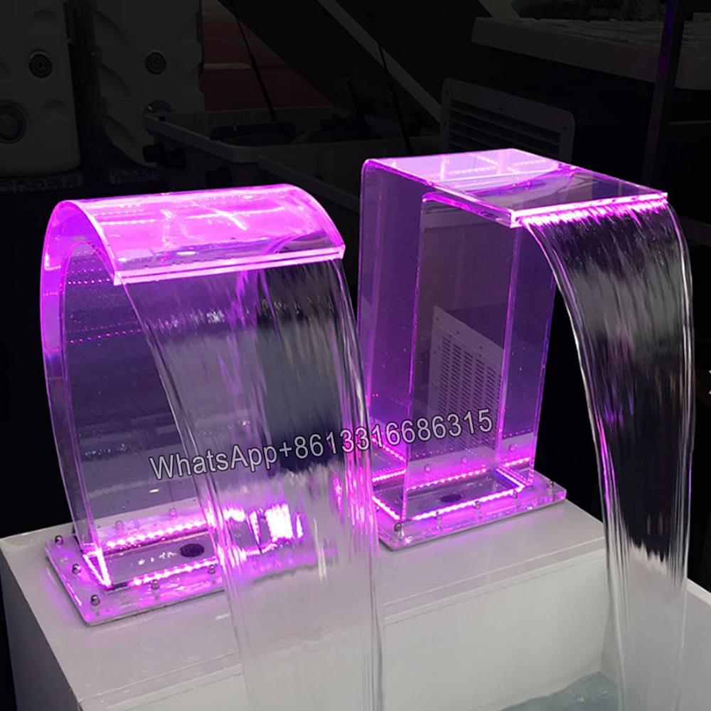 Fabrika fiyatları en iyi ayakta şeffaf akrilik ay şelale led ışık/açık hava yüzme havuzu şelale
