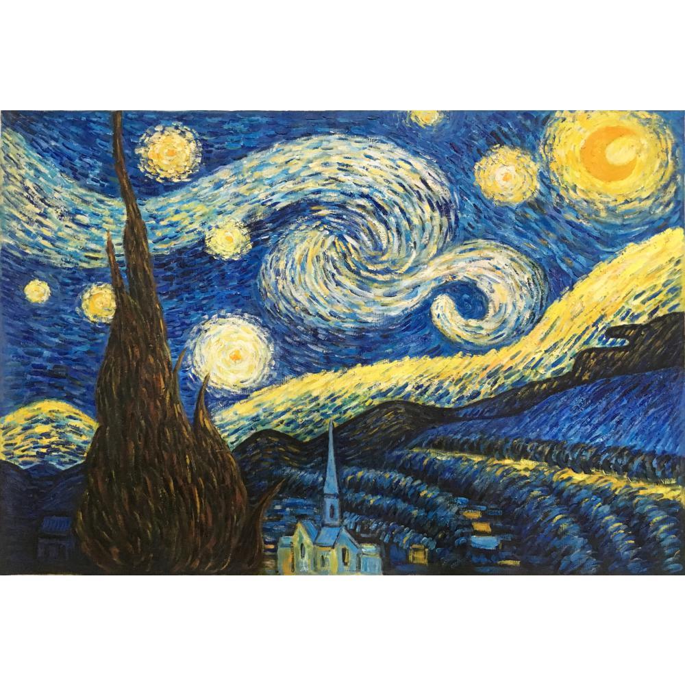 Promotie Wall art Goedkope schilderijen hand geschilderd De Starry Nacht door Vincent Van Gogh schilderen canvas reproductie home decor