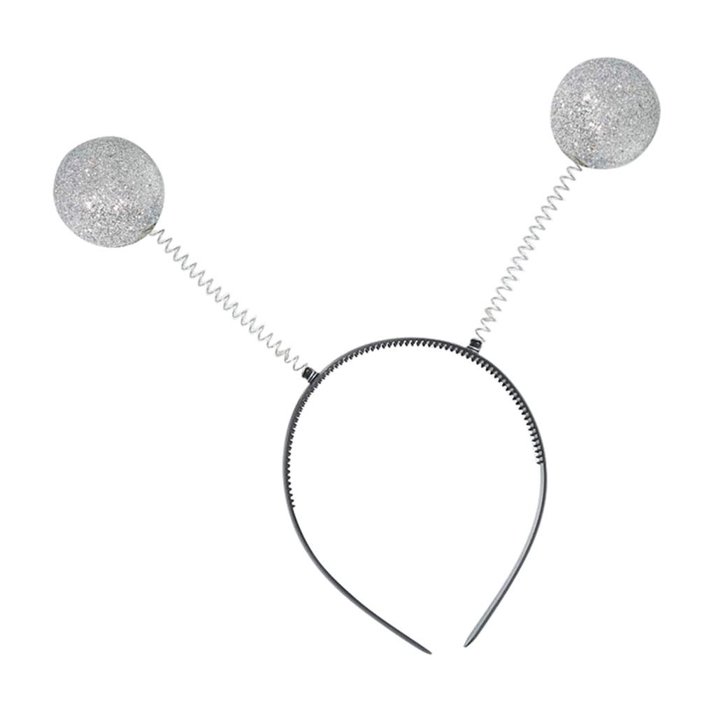 Antena de prata bandana alienígena bola boppers para festa engraçado traje acessório moda senhora menina hairband sexy auto bandana