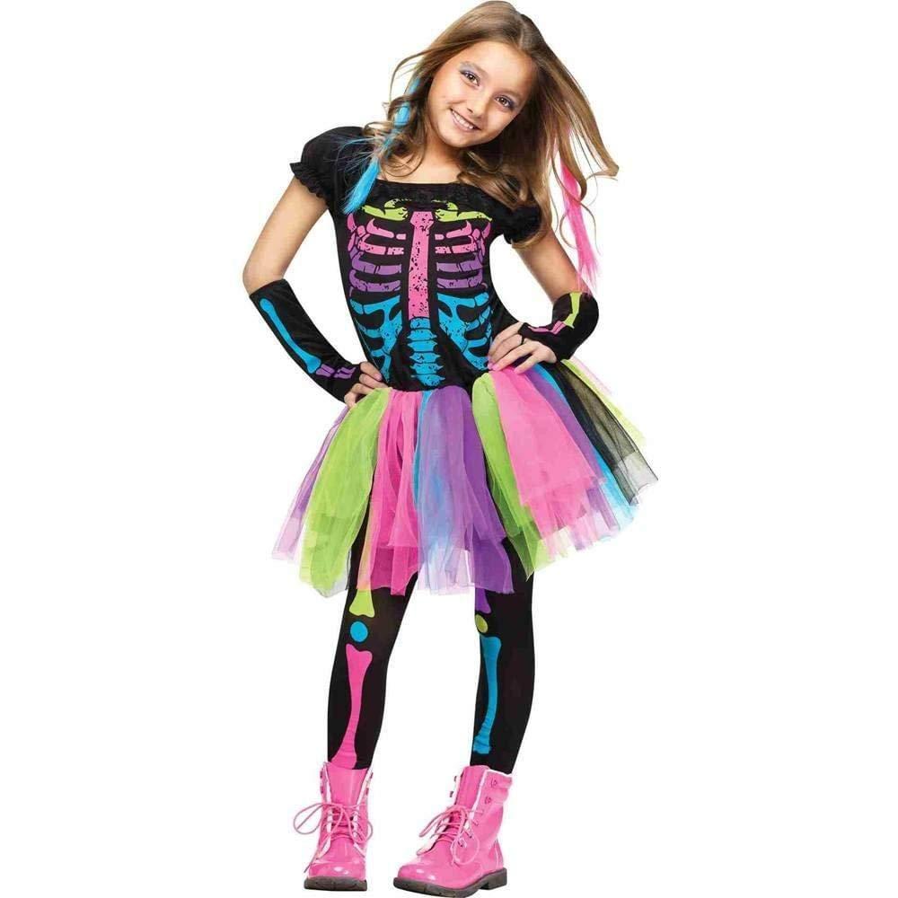 FUNKY Punk skull vestido falda moda esqueleto arcoíris esqueleto fantasma vestido elegante decoración Halloween dropship