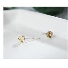 S925 Sterling Silver Eargs Female Teachment Crystal Geometry FSugar Earrings niche Design Sense Japa