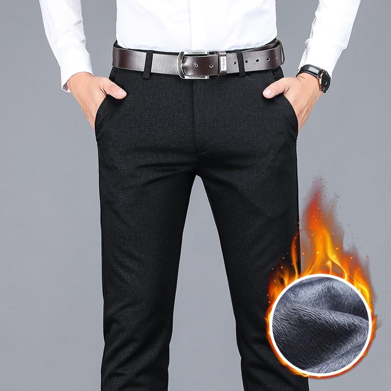شتاء جديد الرجال سراويل تقليدية دافئة الأعمال موضة الصوف سميكة منقوشة بنطلون مكتب تمتد السراويل الذكور ماركة الملابس