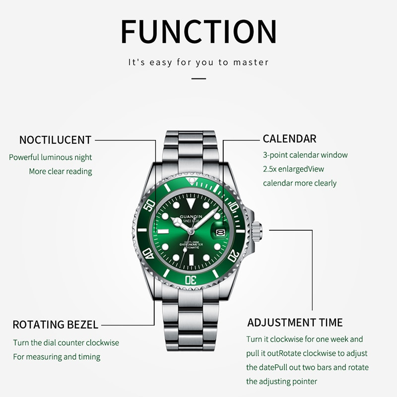 GUANQIN-NH35A Japanese Mechanical Movement Men's Watch Classic Water Ghost Series Waterproof Automatic Ceramic Movement Sapphire enlarge