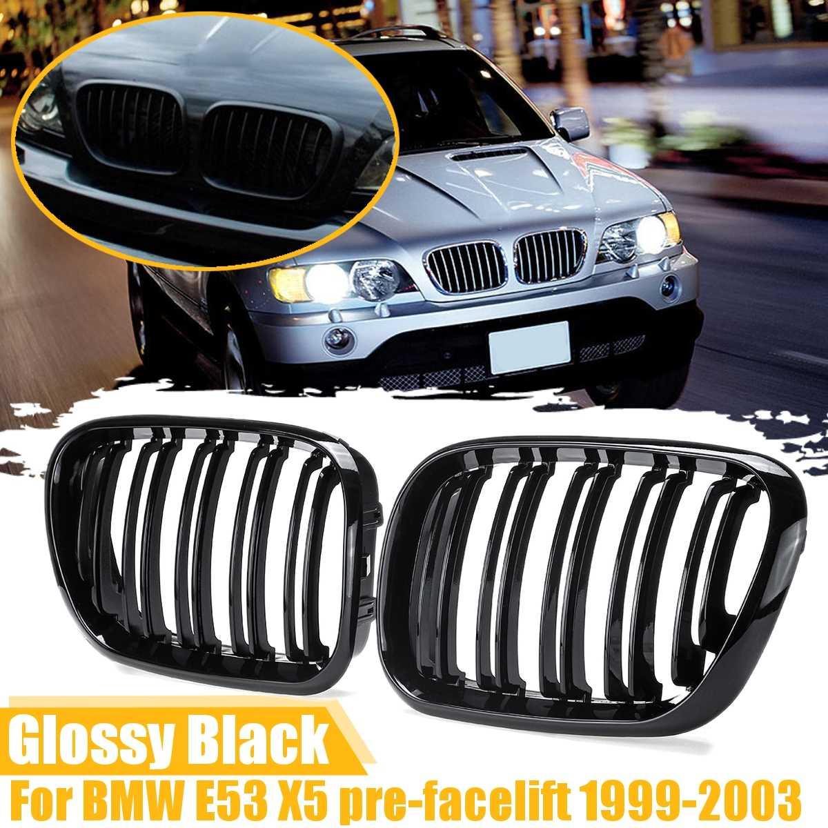 Пара глянцевых матовых черных передних грилей для почек, двойные грили для BMW E53 X5, белые, 2000, 2001, 2002, 2003, автостайлинг, гоночные грили