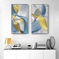 Moderne abstrait toile peinture luxe ruban affiches et impressions nordique mur Art photos pour salon mode decor a la maison