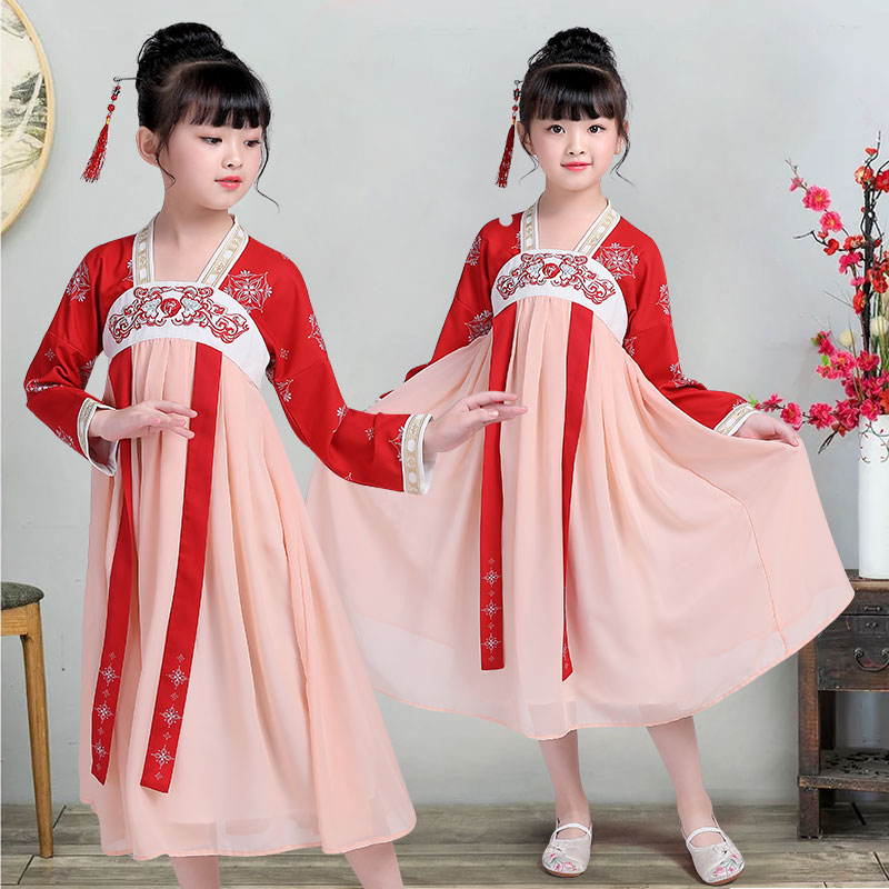 Детские улучшенные костюмы Hanfu для девочек, юбки, элегантный китайский стиль, детские костюмы, костюмы