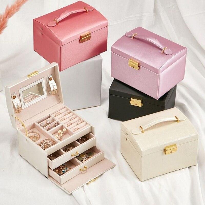 Jewelry Organizer Large Jewelry Box High Capacity Jewelry Casket Makeup Storage Makeup Organizer Leather Beauty Travel Box