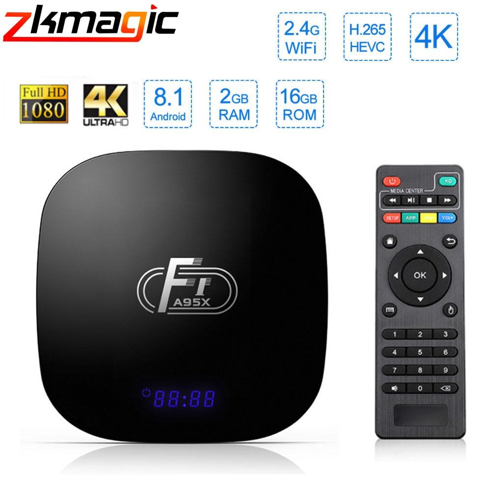 Dispositivo de TV inteligente A95X F1 Amlogic S905W 4K 2GB 16GB 2,4 GHz WiFi reproductor de medios H.265 4K Android 8,1 caja de TV Android PK h96mini Youtube