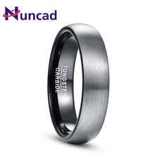 Nuncad 4mm 6mm Ring Gebürstet Hochzeit Band Comfort Fit Dome Matte Innen Ringe Schwarz Hartmetall Ring t165R T154R