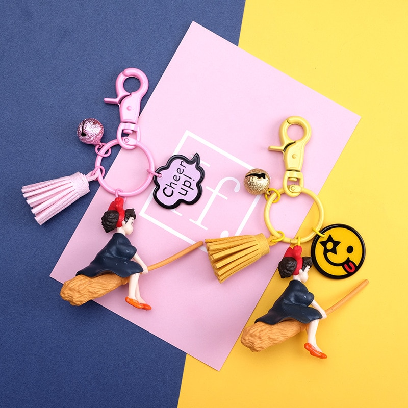 Japonés Hayao Miyazaki animé bonito, servicio de entrega, llaveros para chica, modelo de figura, muñeca de PVC, llaveros para mochila