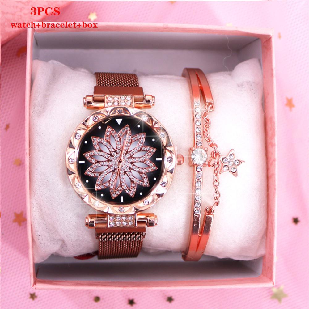 Casual Ladies Watch Bracelet Set Quartz Women Watches Rose Gold Stainless Steel Mesh Rhinestones Female Clock relogio feminino