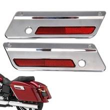 Plaque de couvercle de charnière de moto   Sac de selle, plaque ABS avec réflecteur rouge pour Harley 1993-2013 Touring Electra glisse, chromé