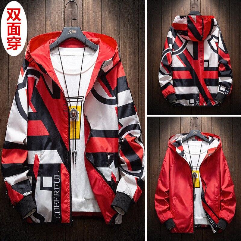 Мужские куртки на весну и осень, повседневные широкие полосатые двусторонние толстовки, модные мужские топы, двусторонние куртки