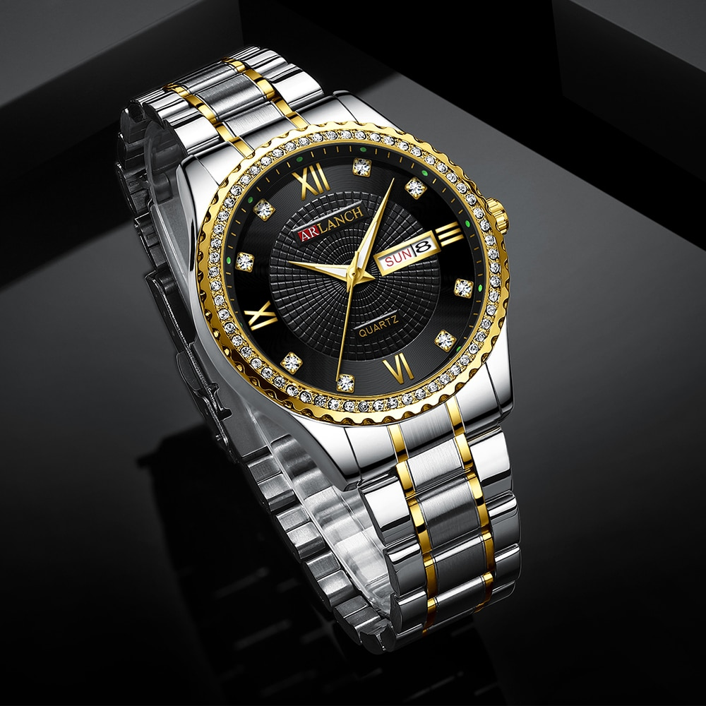 2020 New ARLANCH Women Watches Golden Stainless Steel Exquisite Watch ladies Rhinestone Luxury Casual Quartz Watch Relojes Mujer enlarge
