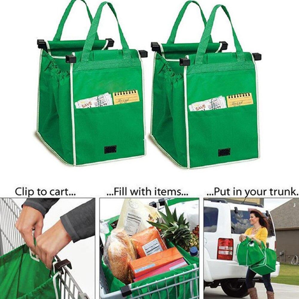 Bolsas verdes reutilizables de 1 pieza, bolsa grande para Carro con Clip para carrito, bolsas para compras de supermercado, bolsa plegable portátil