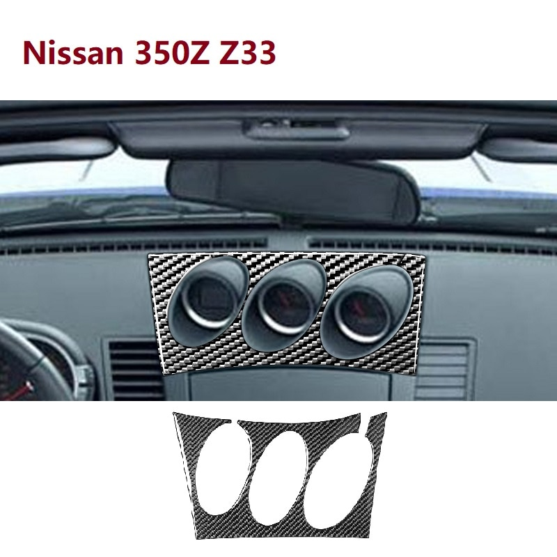 Fit For Nissan 350Z Z33 2003-2009 Central tilt meter Frame Carbon Sticker Radio Air Console Panel Cover Car Accessories