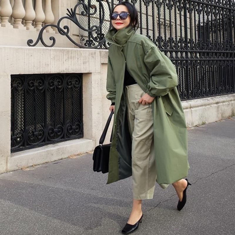 Johطبيعة-معطف نسائي طويل بياقة مدورة ، ملابس كورية غير رسمية فضفاضة ، لون عادي ، سحاب ، معطف متناسق ، خريف 2021