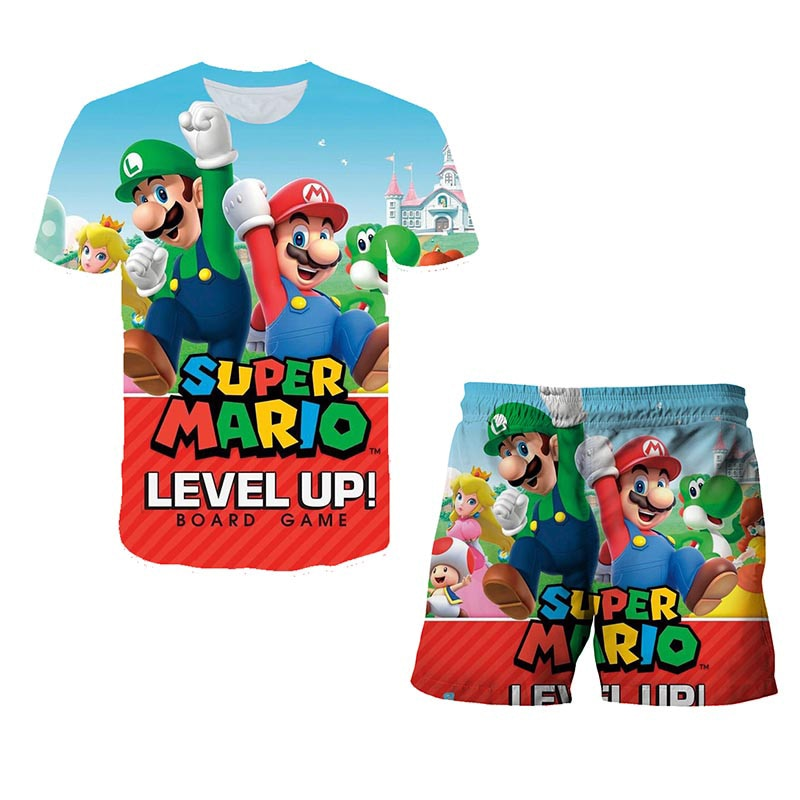 2021suit Mario Summer Children Boys Girl Polyester Clothes Kids Cartoon T-shirt Shorts Sets Kids Fashion Clothing Tracksuits