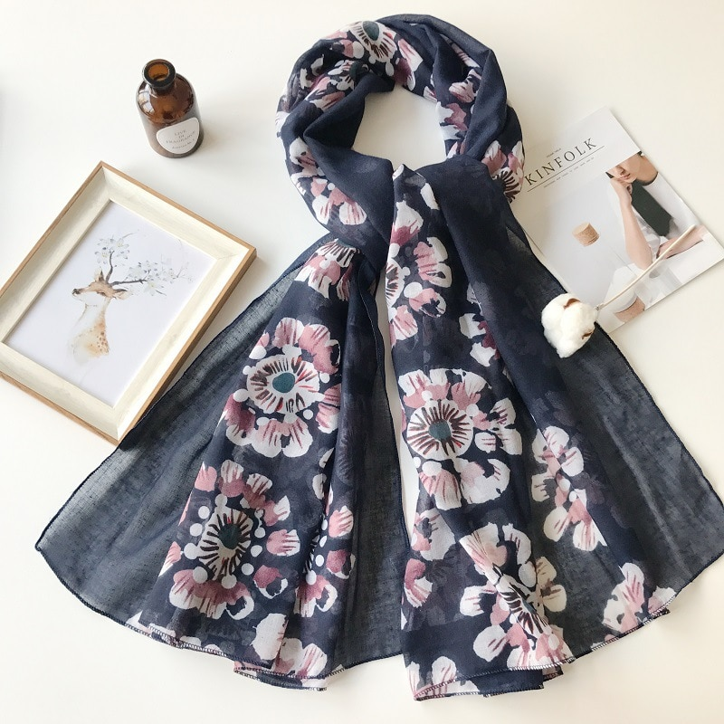 2021 Newest Women Floral Printed Pattern Cotton Scarf Shawls Wraps Hijabs