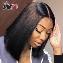 NY Hair-perruque Bob Lace Front wig 100% naturelle brésilienne   Cheveux lisses, pour femmes africaines