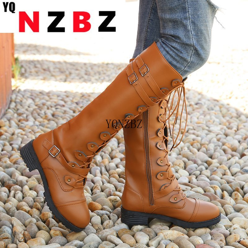 2021 Sexy Women Lace Up Knee High Boots Fashion Square Heel Rubber Women Boot New Winter Boots for W
