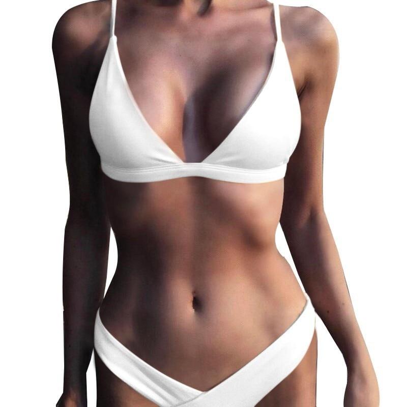 2020 Solid Bikini Set Women Swimsuit Female Swimwear Bikinis Sexy Bathing Suit Biquini Backless Beach Wear Maillot De Bain Femme