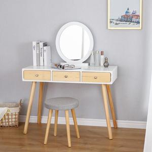 Nordic Dresser For Bedroom 125cm Dressing Table Small Apartment Modern Minimalist Single Mini Dressing Table With Mirror HWC