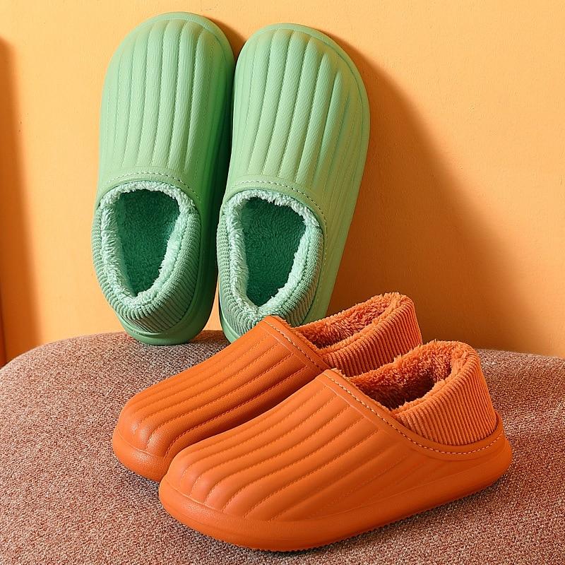 Waterproof Winter Plush  EVA  Cotton Slippers Female Home Footwear Flops Mule Men Slides  Warm  Fluf
