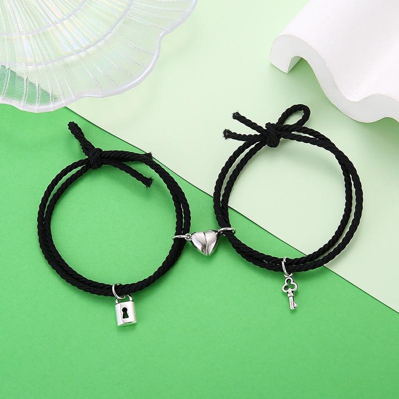 Магнитные браслеты для пар, магнитный браслет в виде магнитного сердца для женщин и мужчин, плетеная веревка, цепочка на запястье, Минималистичная бижутерия, подарок 2021