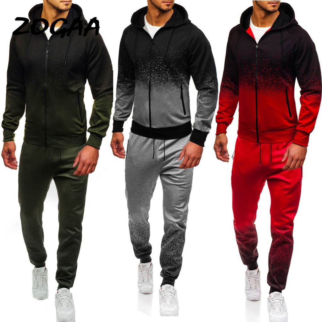 ZOGAA 2021 New Men's Casual Sports Suit Gradient Stripes European And American Suit Three Colors Optional Sports Suit