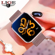 LIGE New Smart Watch women 1.69 Inch Full Touch Fitness Real-time Activity Tracker Blood Pressure Sp