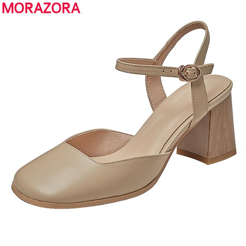MORAZORA-صندل من الجلد الطبيعي بكعب عالٍ بإبزيم للنساء ، أحذية صيفية ، أحذية عصرية ، مقاس 34-43