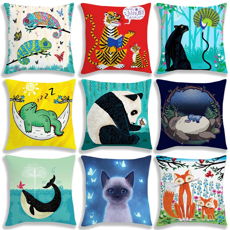 Чехол для подушки с милыми животными, 45 см, без подушки, детские наволочки с 3D рисунком кота, собаки, совы, панды, Льва, тигра, Тоторо, ящерицы