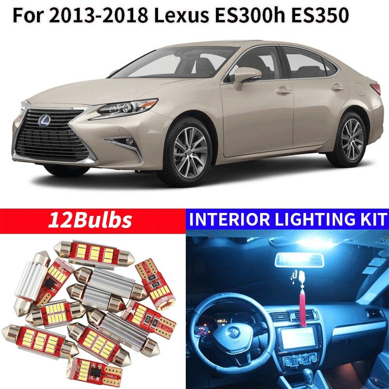12x Canbus Error libre juego de luz interior led paquete para 2013-2018 Lexus ES300h ES350 accesorios de coche mapa Domo maletero licencia PEG